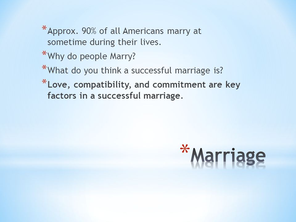 Approx. 90% of all Americans marry at sometime during their lives.