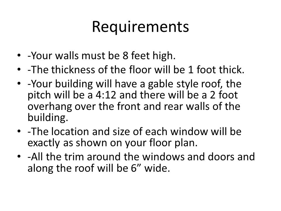 Requirements -Your walls must be 8 feet high.