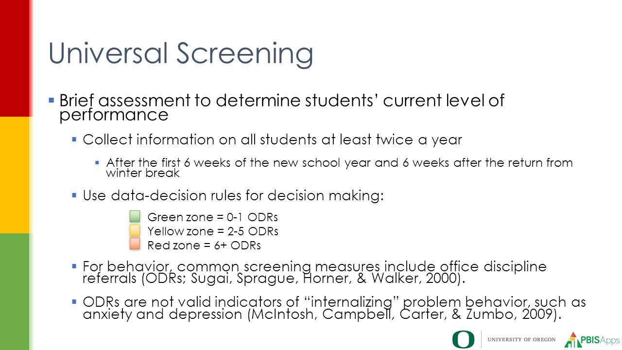 Universal Screening Brief assessment to determine students' current level of performance. Collect information on all students at least twice a year.