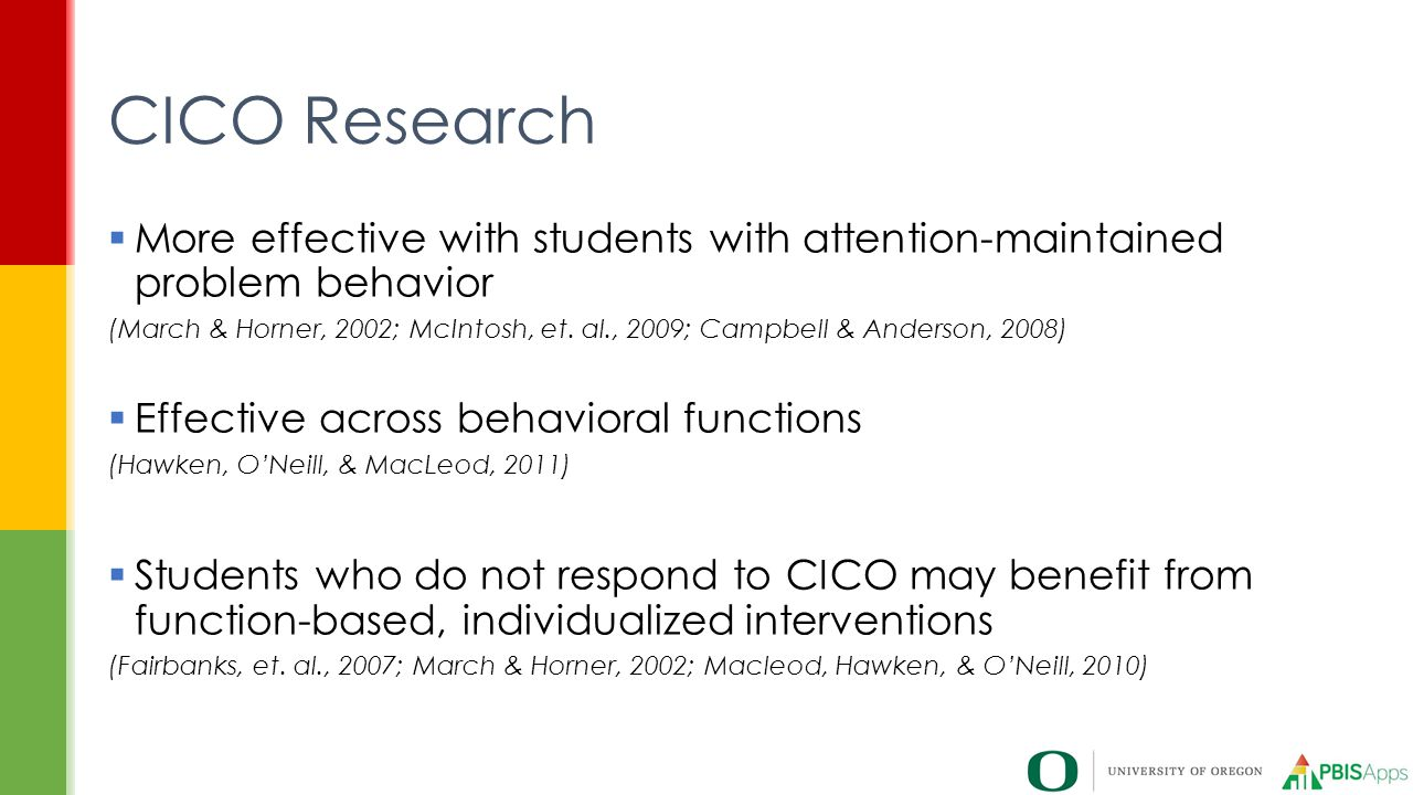 CICO Research More effective with students with attention-maintained problem behavior.