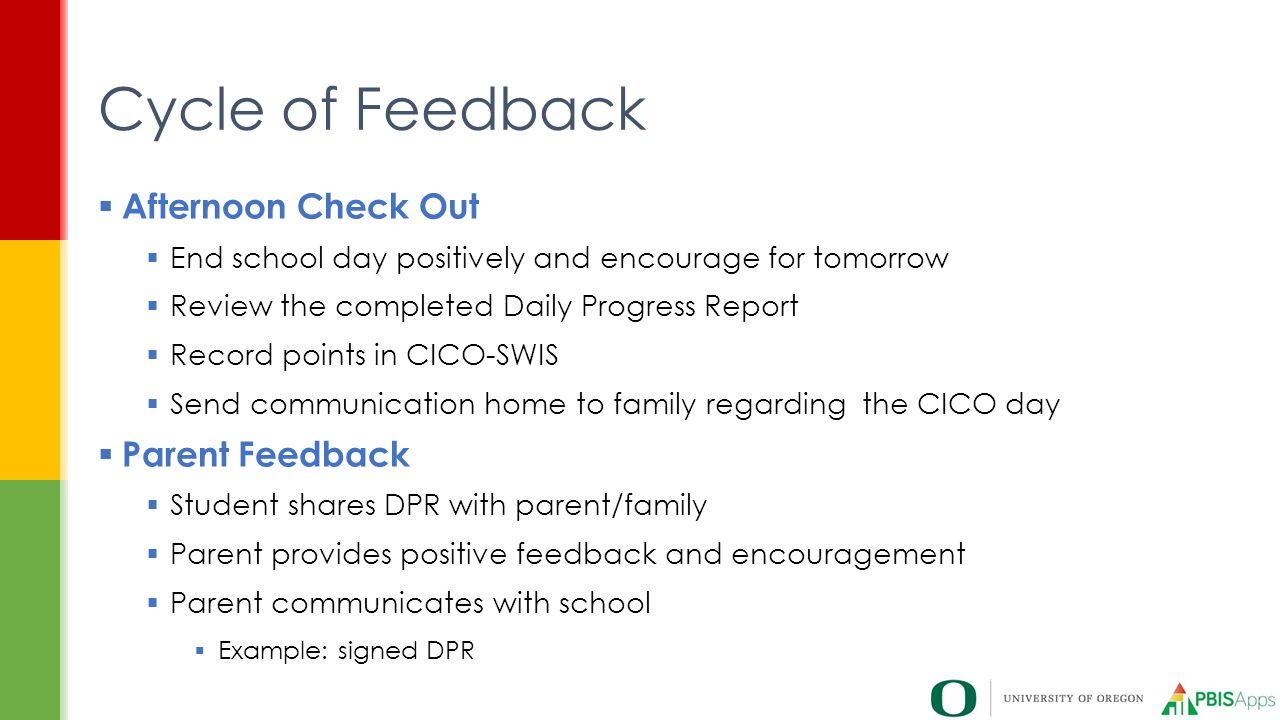 Cycle of Feedback Afternoon Check Out Parent Feedback