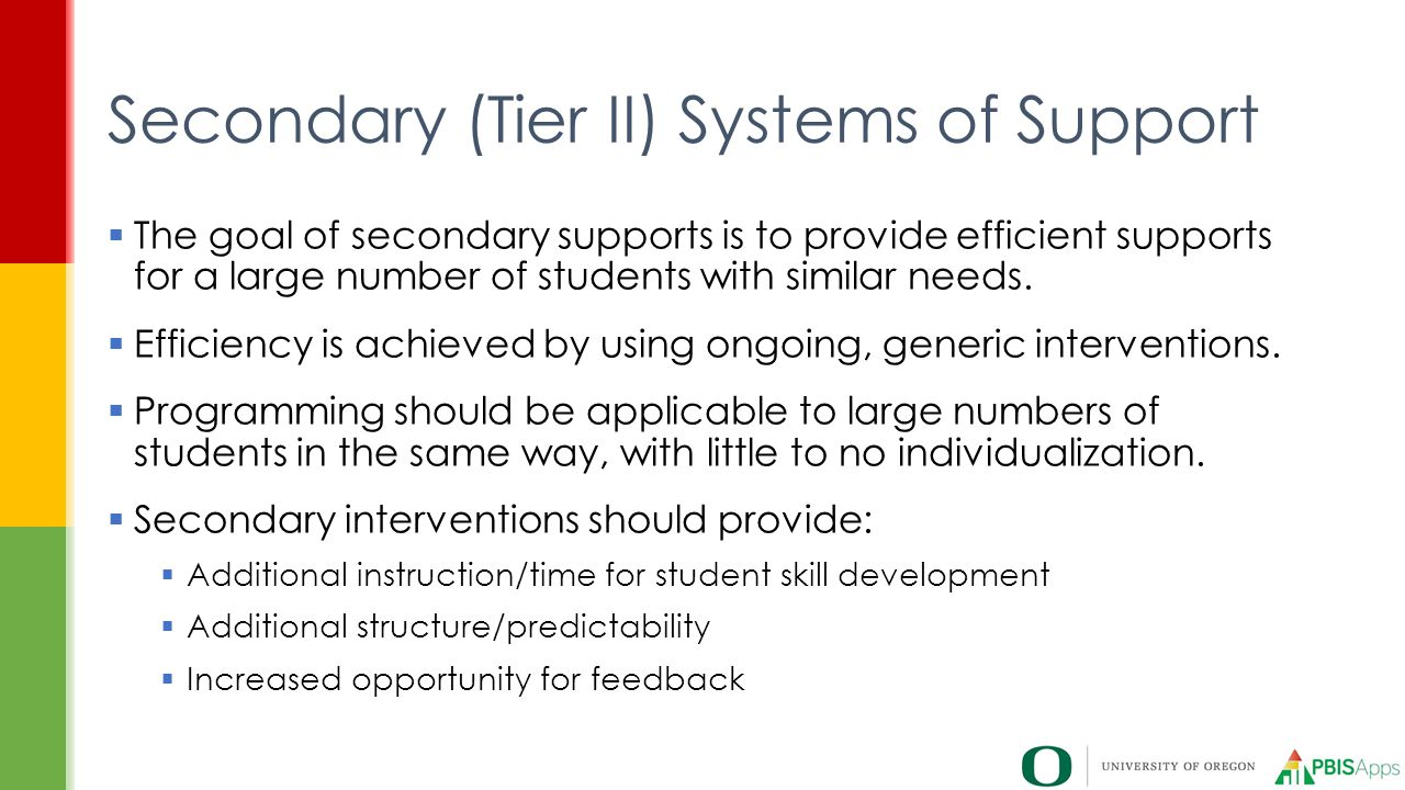 Secondary (Tier II) Systems of Support