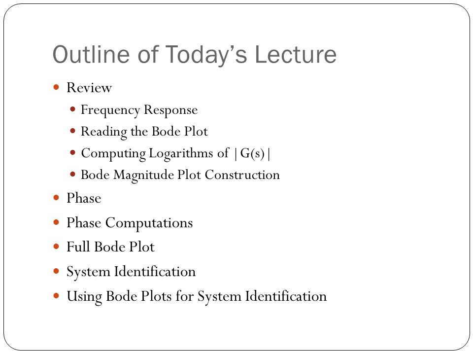 Outline of Today's Lecture