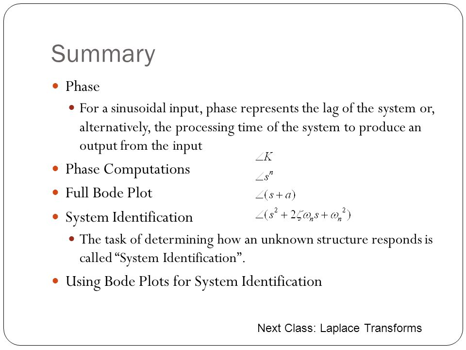 Summary Phase Phase Computations Full Bode Plot System Identification