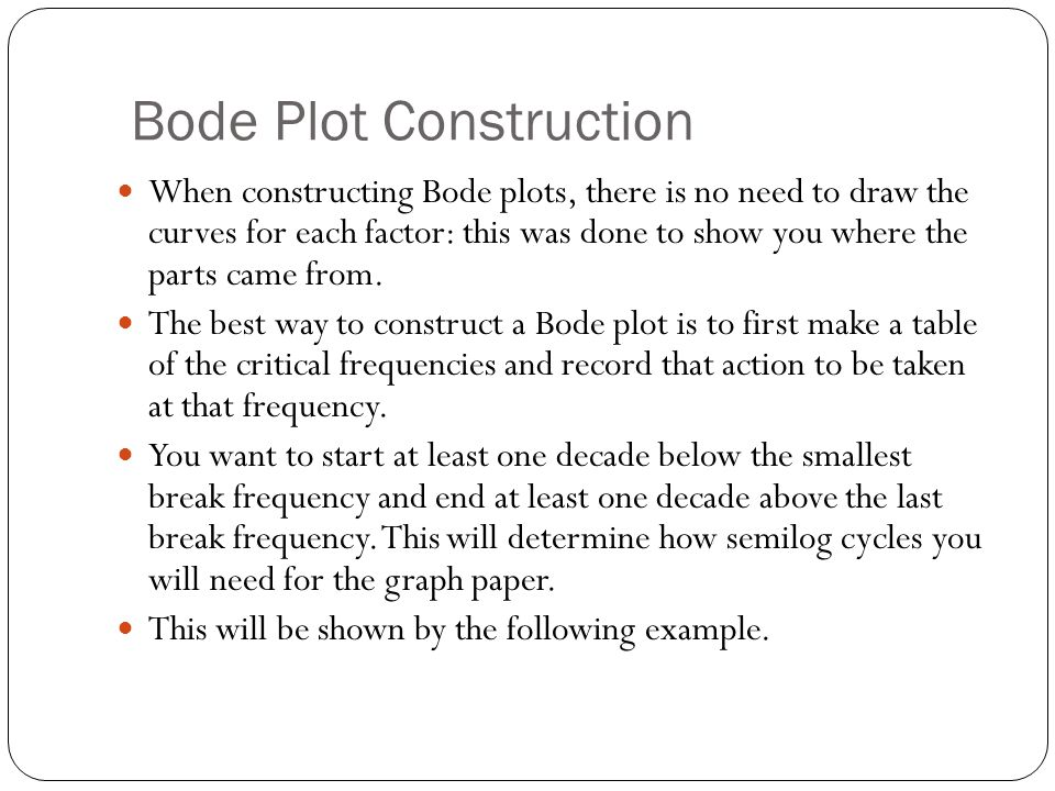 Bode Plot Construction