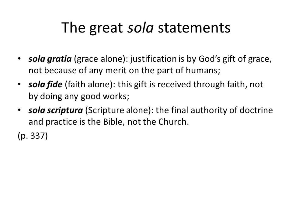 The great sola statements