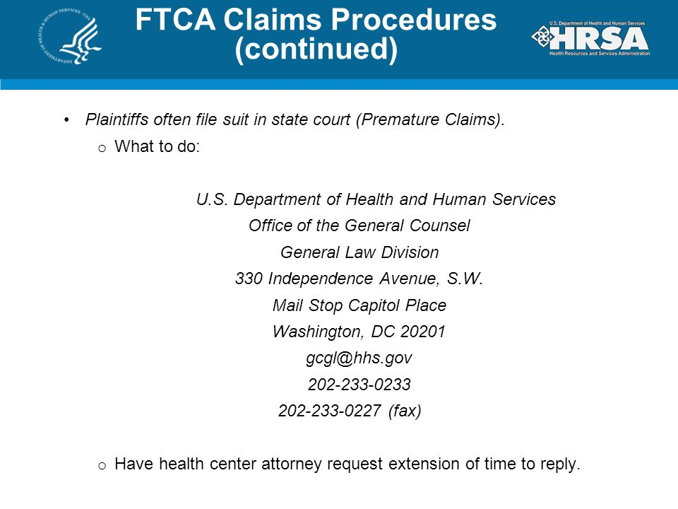 FTCA Claims Procedures (continued)