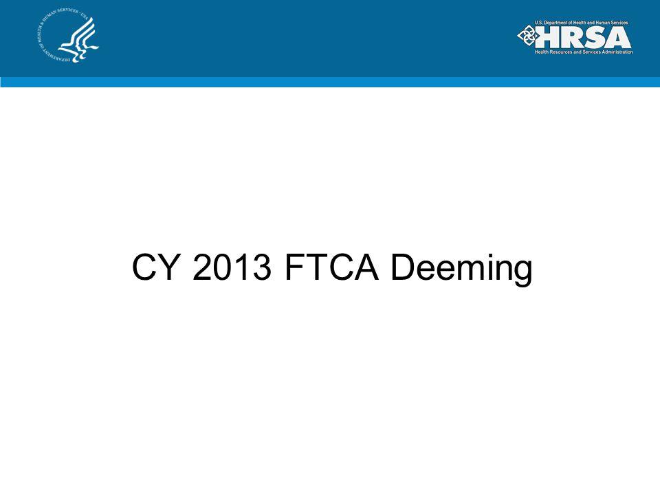 CY 2013 FTCA Deeming