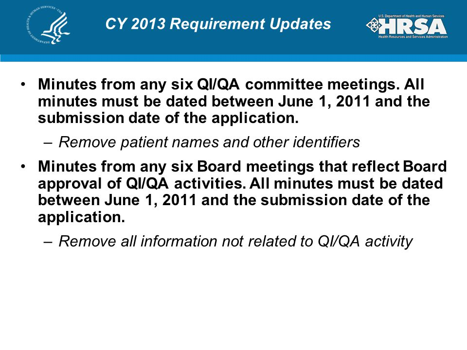 CY 2013 Requirement Updates