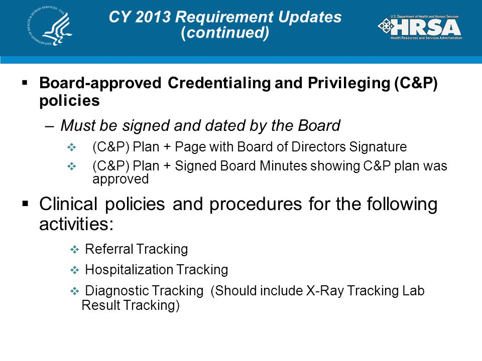 CY 2013 Requirement Updates (continued)