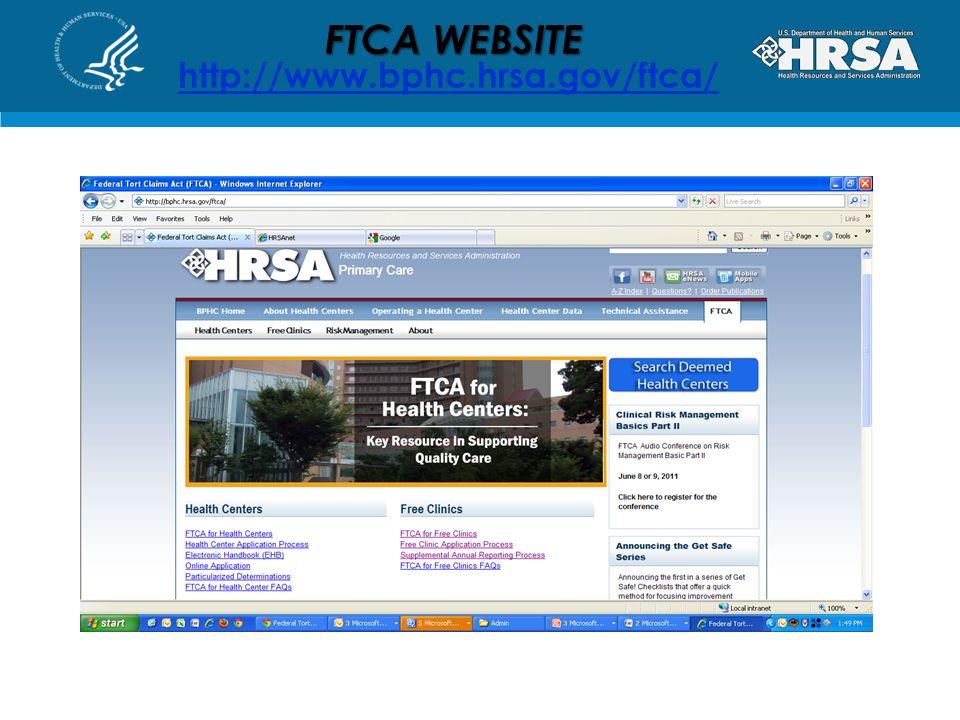 FTCA WEBSITE http://www.bphc.hrsa.gov/ftca/
