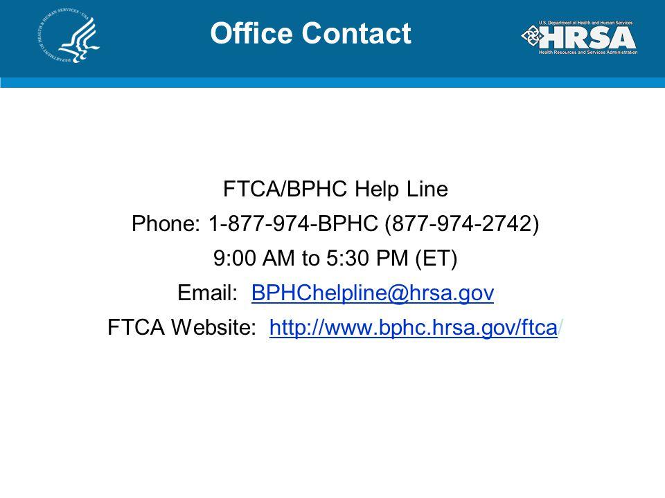 FTCA Website: http://www.bphc.hrsa.gov/ftca/