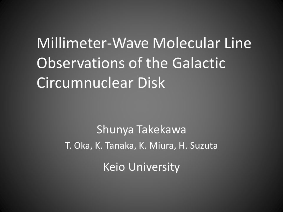 Shunya Takekawa T. Oka, K. Tanaka, K. Miura, H. Suzuta Keio University