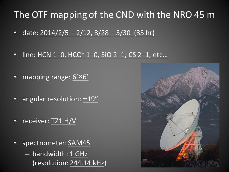 The OTF mapping of the CND with the NRO 45 m