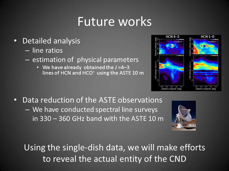 Future works HCN 4–3. HCN 1–0. Detailed analysis. line ratios. estimation of physical parameters.