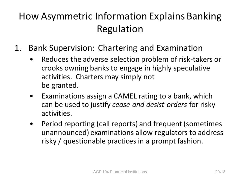 How Asymmetric Information Explains Banking Regulation