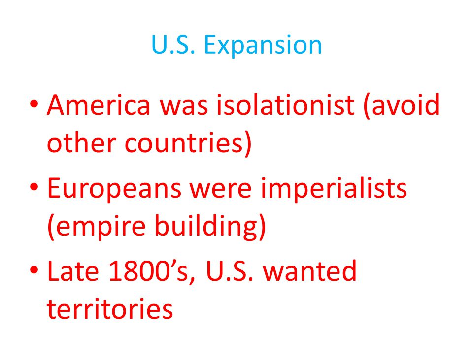 America was isolationist (avoid other countries)