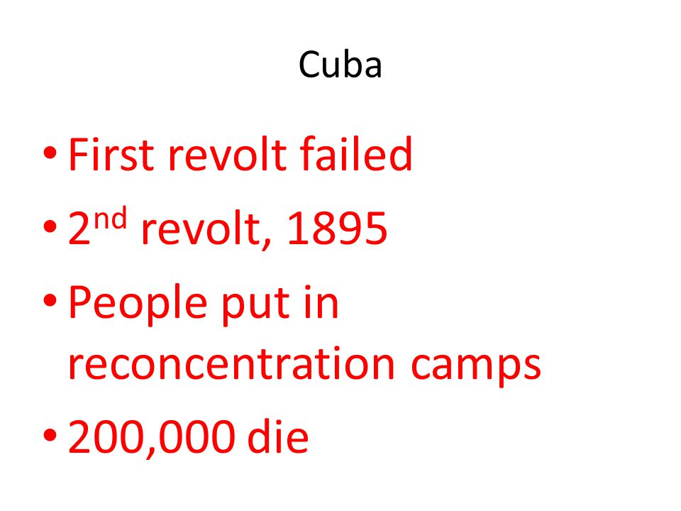 People put in reconcentration camps 200,000 die