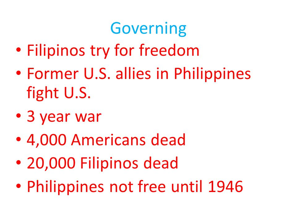 Governing Filipinos try for freedom