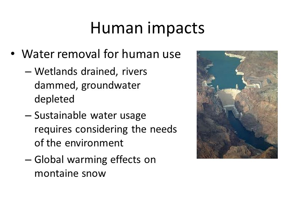 Human impacts Water removal for human use