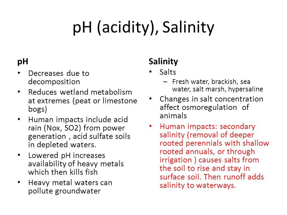 pH (acidity), Salinity pH Salinity Salts