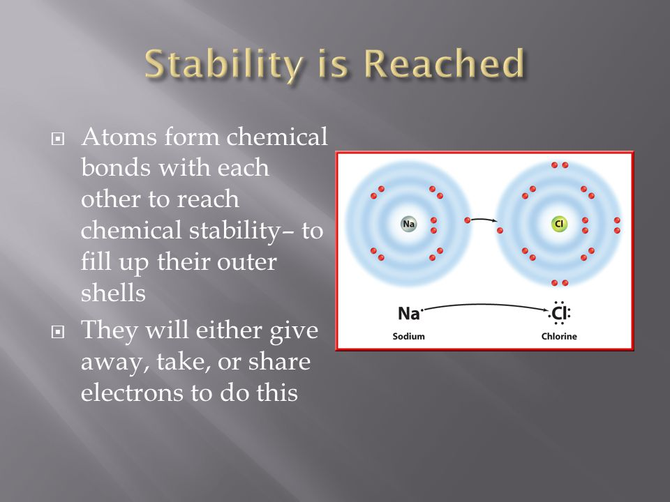 Stability is Reached Atoms form chemical bonds with each other to reach chemical stability– to fill up their outer shells.