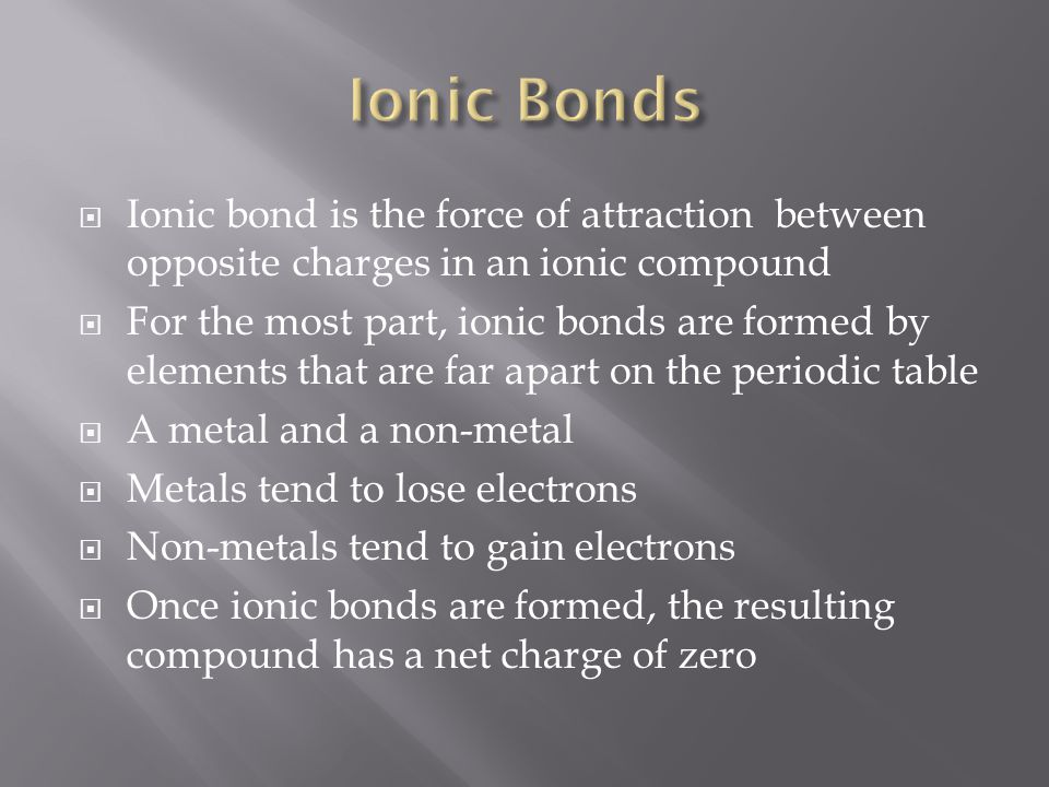 Ionic Bonds Ionic bond is the force of attraction between opposite charges in an ionic compound.