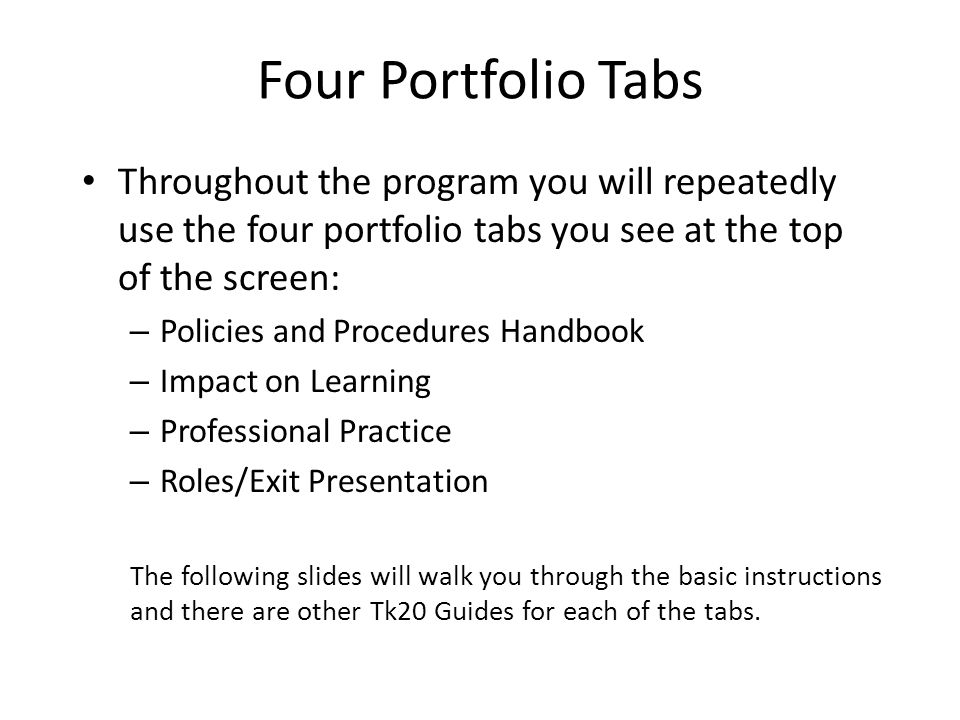 Four Portfolio Tabs Throughout the program you will repeatedly use the four portfolio tabs you see at the top of the screen: