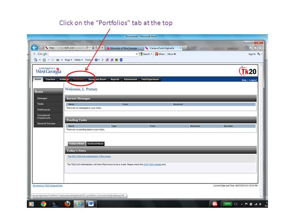 Click on the Portfolios tab at the top