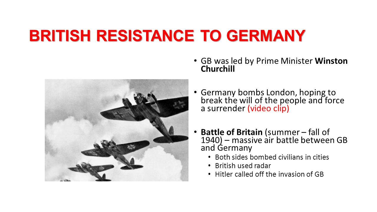 BRITISH RESISTANCE TO GERMANY