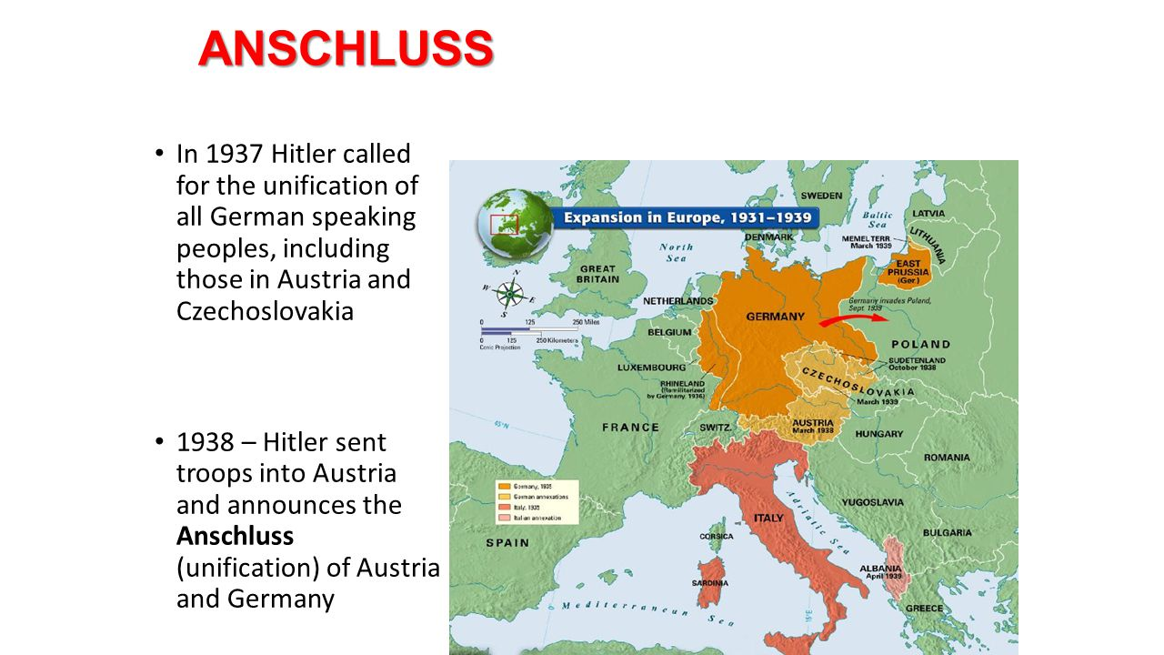 ANSCHLUSS In 1937 Hitler called for the unification of all German speaking peoples, including those in Austria and Czechoslovakia.