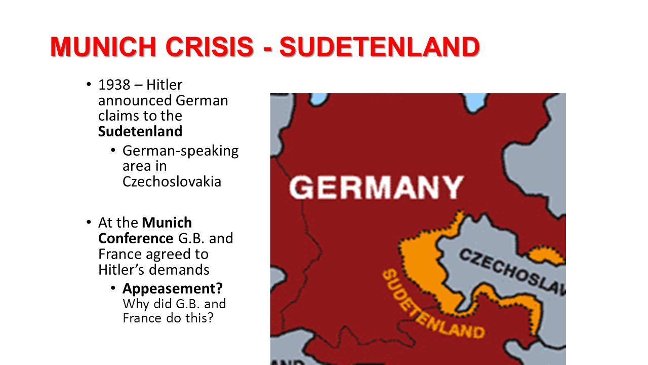 MUNICH CRISIS - SUDETENLAND