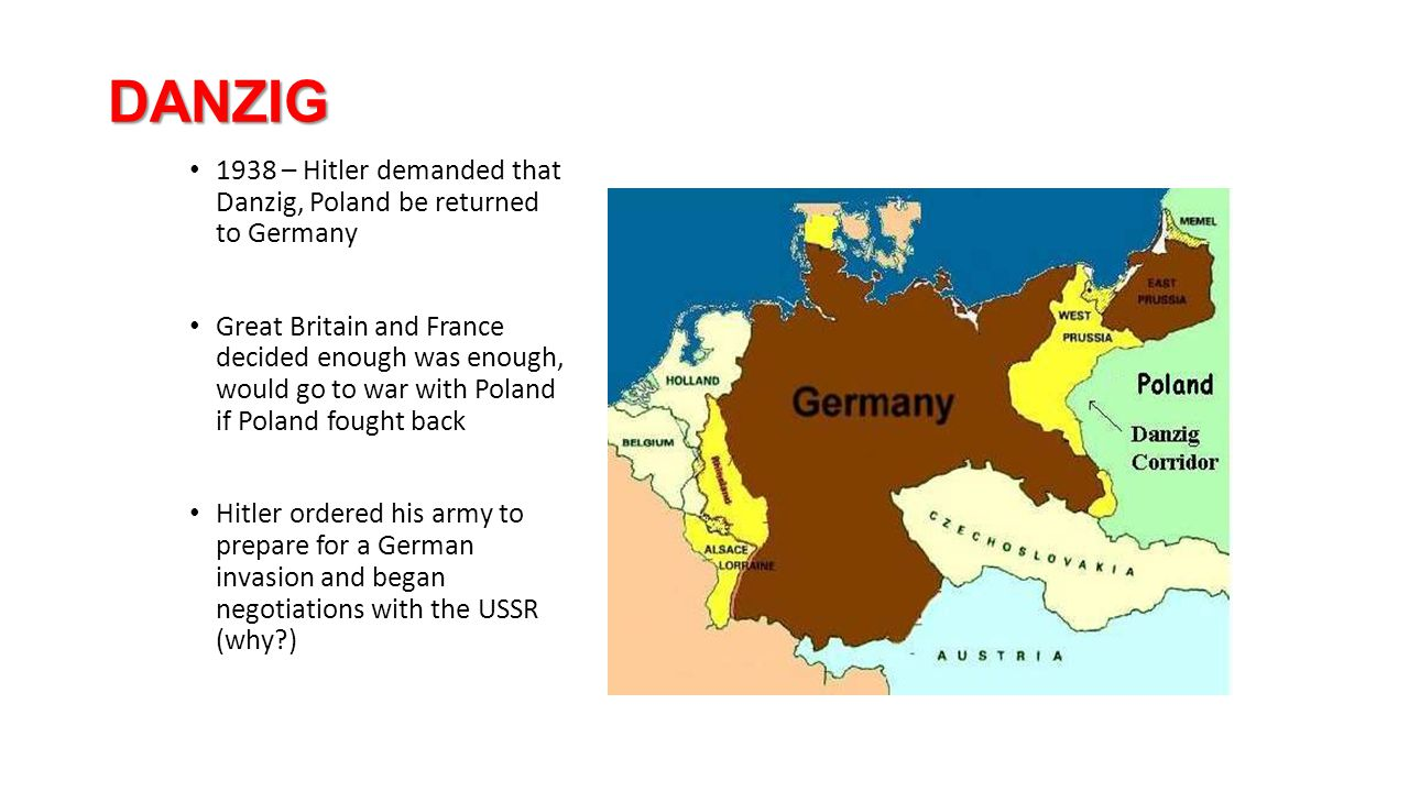 DANZIG 1938 – Hitler demanded that Danzig, Poland be returned to Germany.