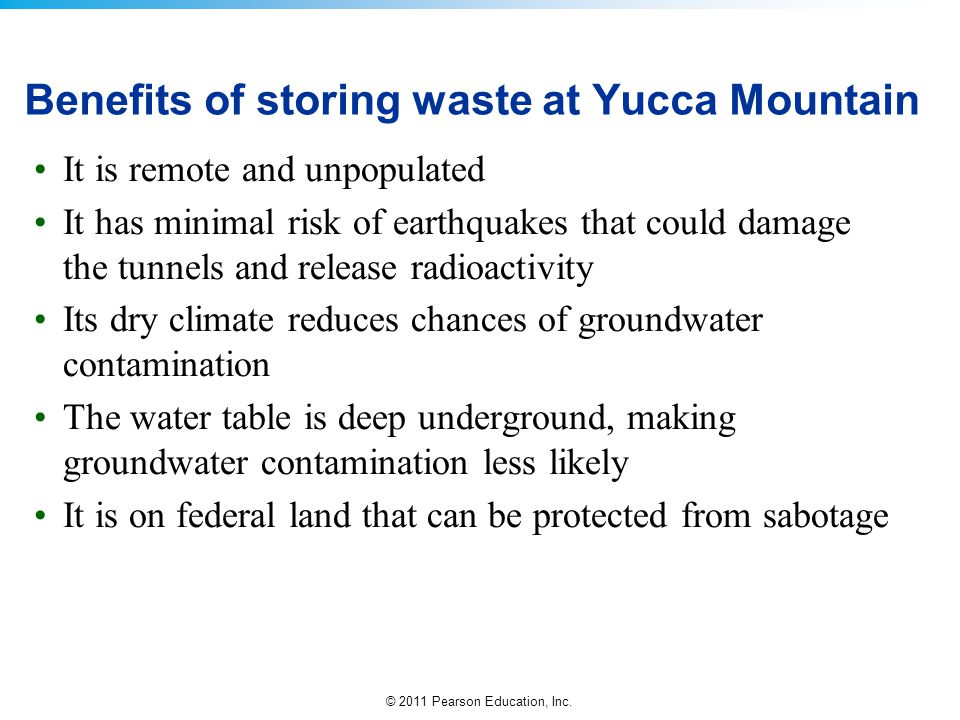 Benefits of storing waste at Yucca Mountain