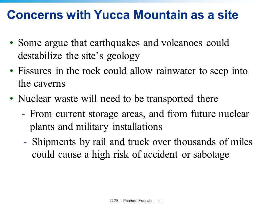 Concerns with Yucca Mountain as a site