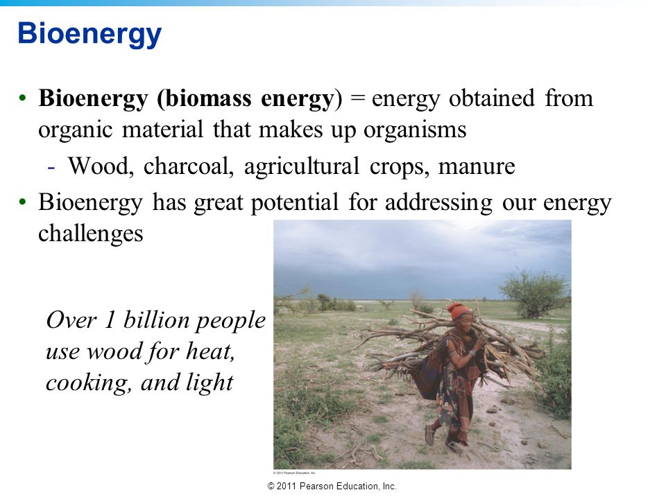 Bioenergy Bioenergy (biomass energy) = energy obtained from organic material that makes up organisms.