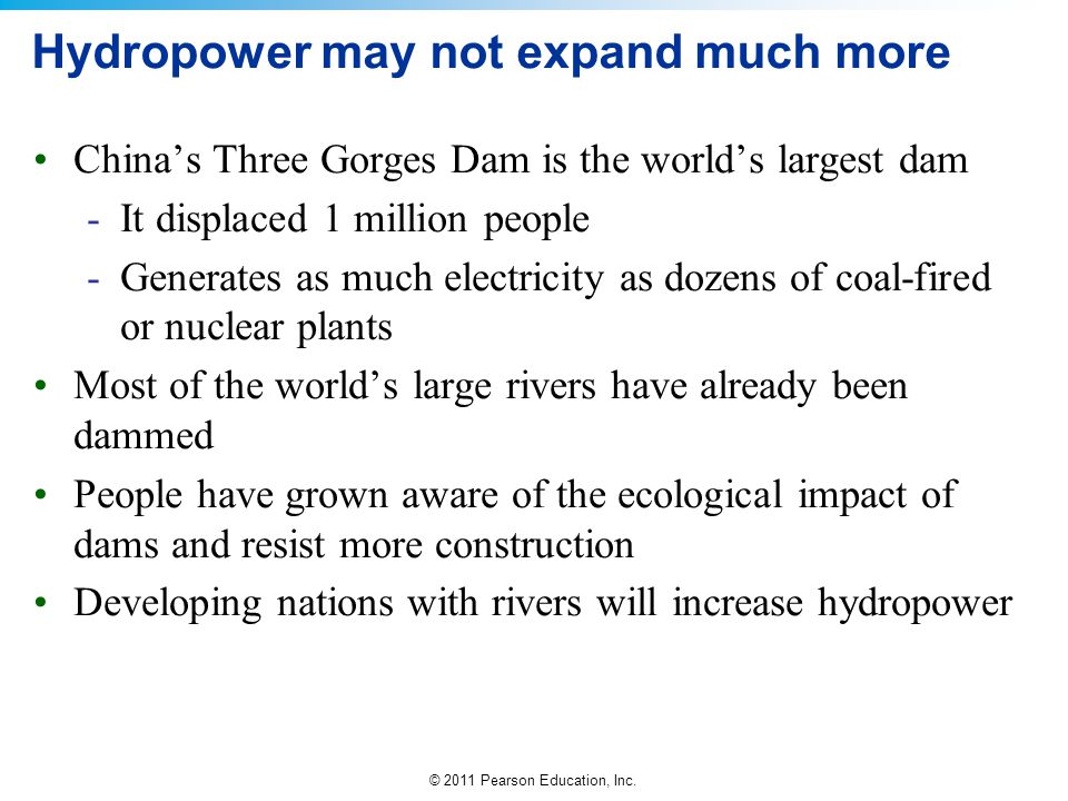 Hydropower may not expand much more