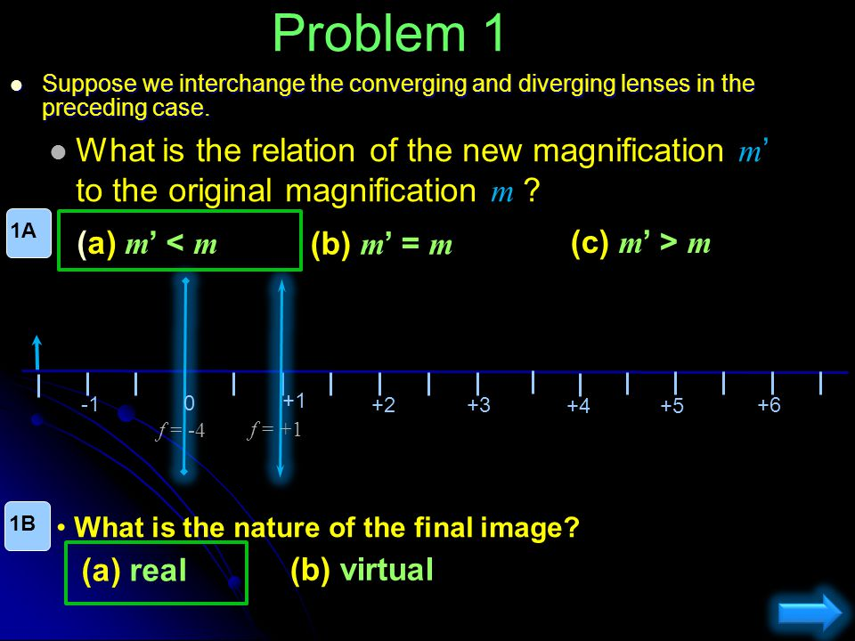 Problem 1 Suppose we interchange the converging and diverging lenses in the preceding case.