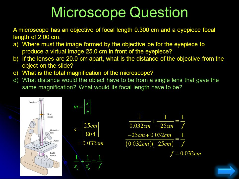 Microscope Question A microscope has an objective of focal length 0.300 cm and a eyepiece focal length of 2.00 cm.