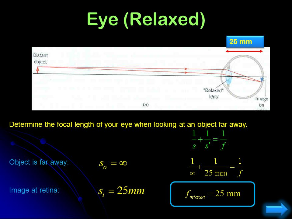 Eye (Relaxed) 25 mm. Determine the focal length of your eye when looking at an object far away. Object is far away: