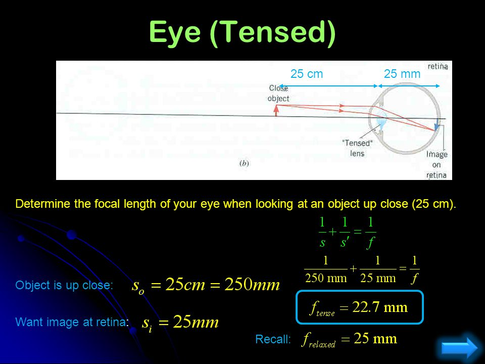 Eye (Tensed) 25 cm. 25 mm. Determine the focal length of your eye when looking at an object up close (25 cm).
