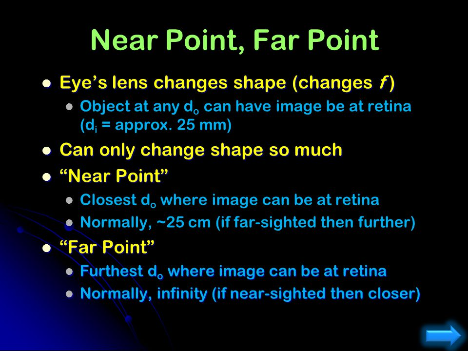 Near Point, Far Point Eye's lens changes shape (changes f )