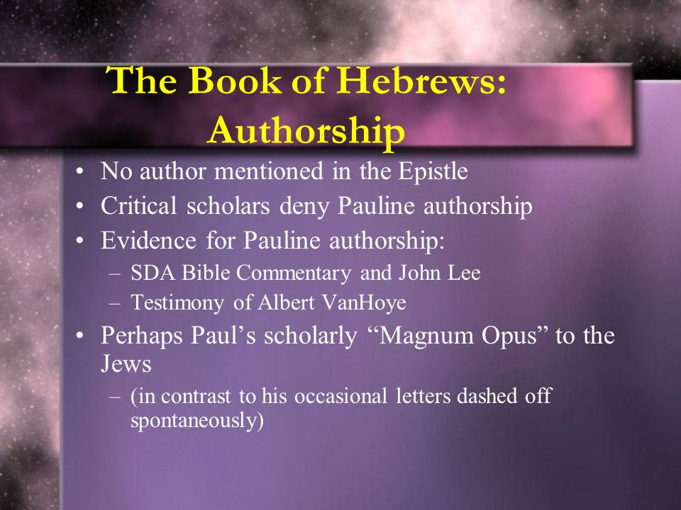 The Book of Hebrews: Authorship