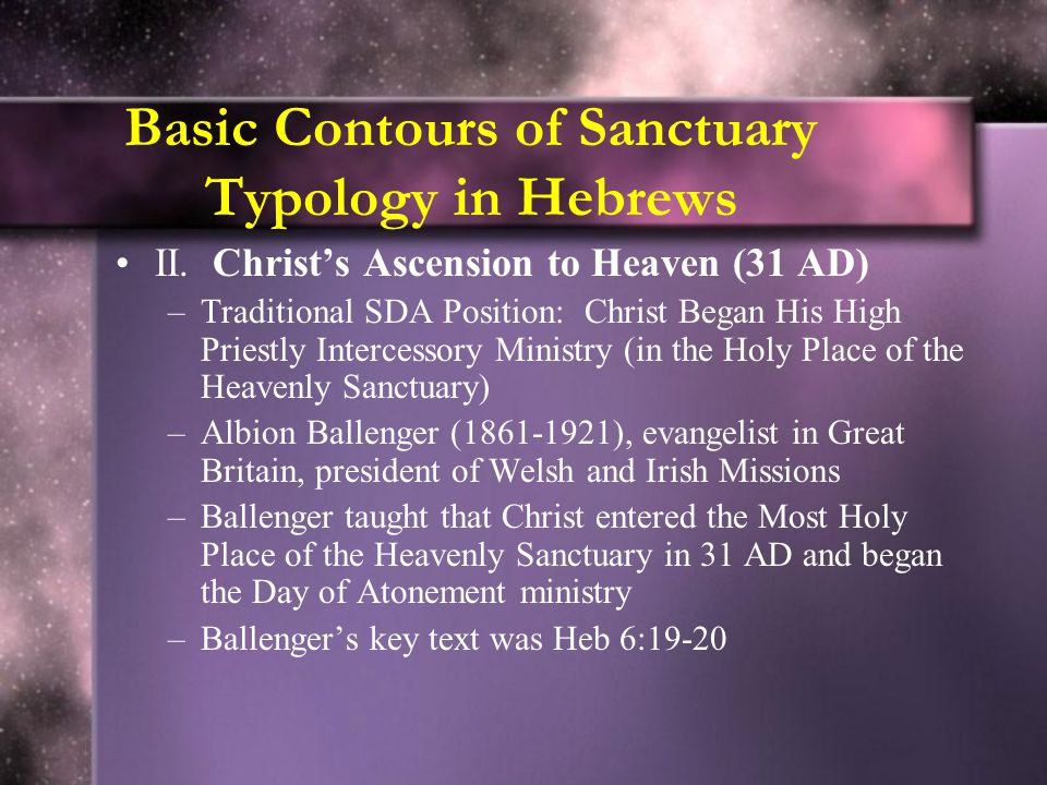 Basic Contours of Sanctuary Typology in Hebrews
