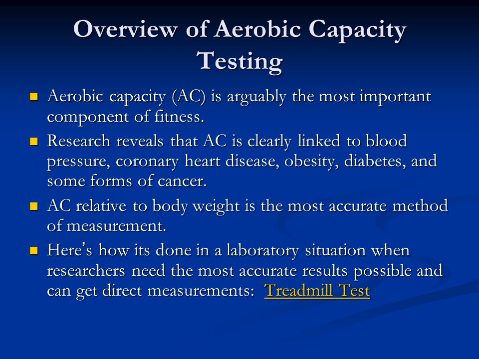 Overview of Aerobic Capacity Testing