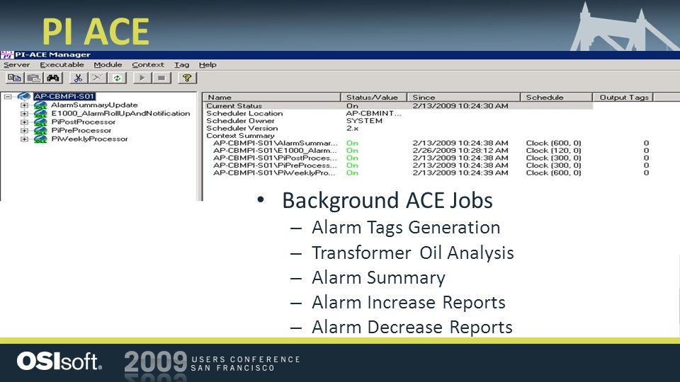 PI ACE Background ACE Jobs Alarm Tags Generation