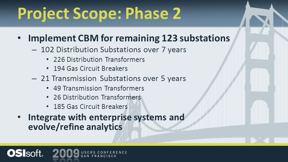 Project Scope: Phase 2 Implement CBM for remaining 123 substations