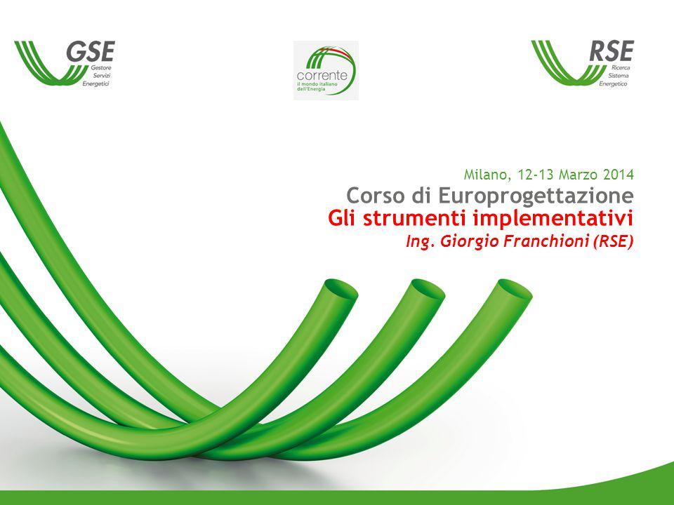 Milano, 12-13 Marzo 2014 Corso di Europrogettazione Gli strumenti implementativi Ing.