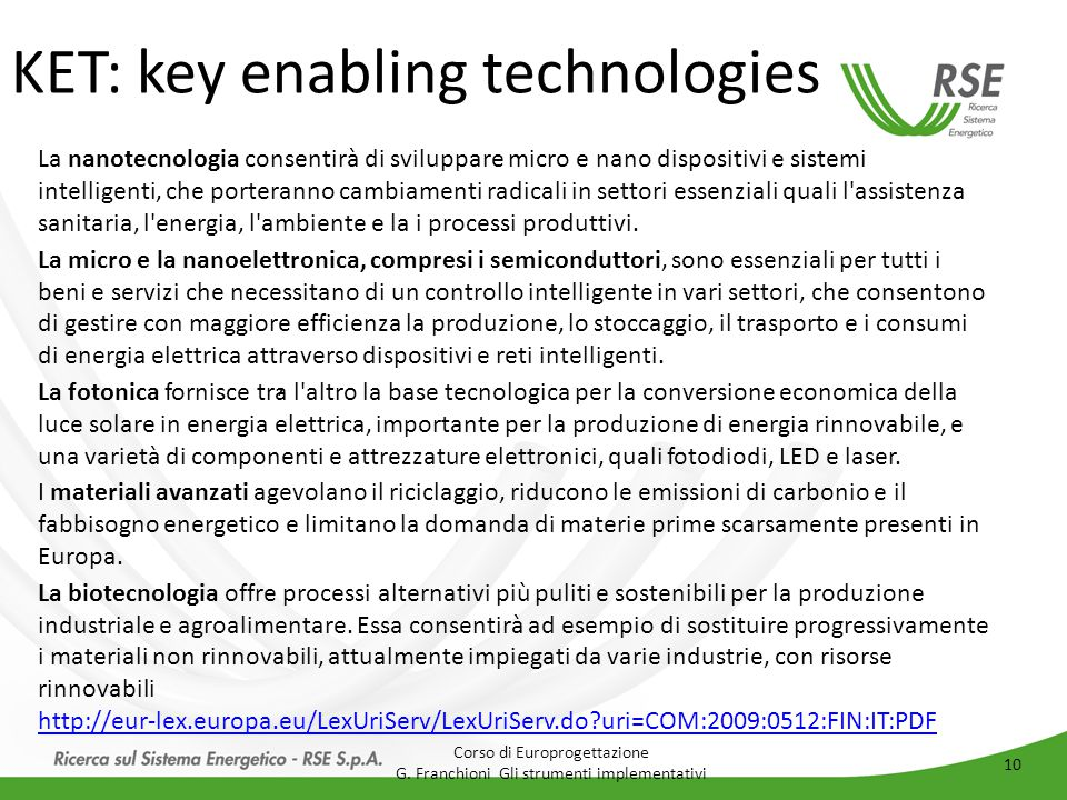 KET: key enabling technologies
