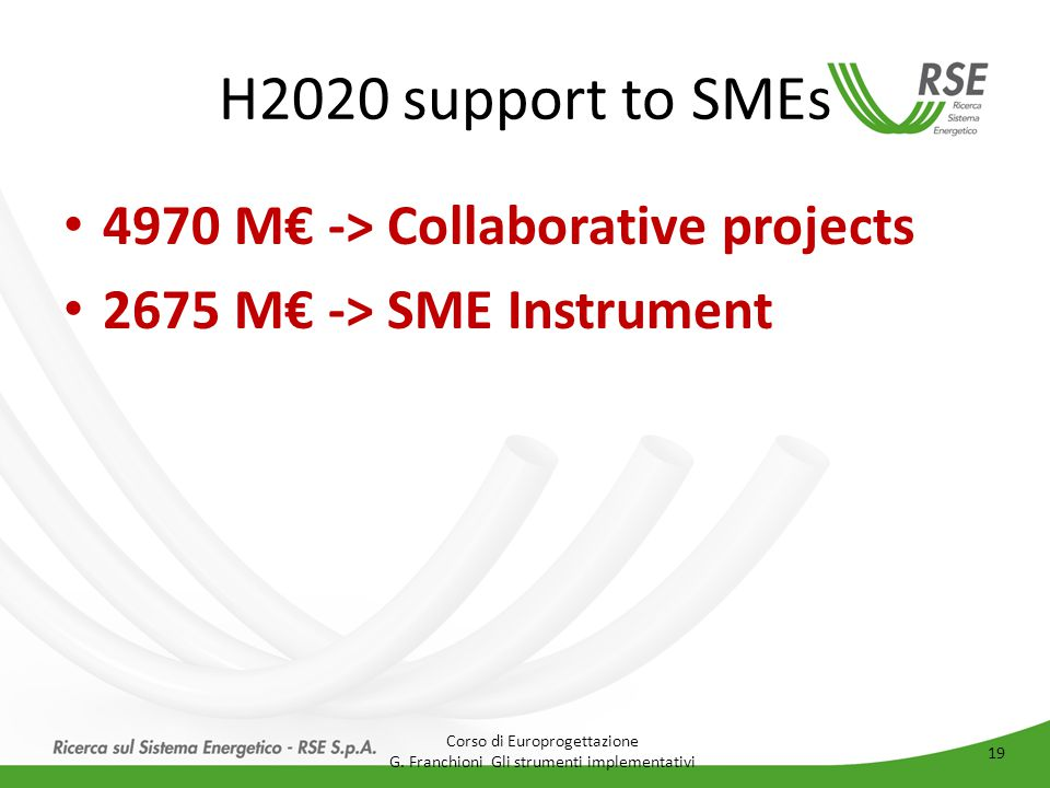 H2020 support to SMEs 4970 M€ -> Collaborative projects